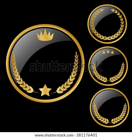 Vector round black glossy labels / banners / frames with shiny golden  - stock vector