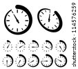 vector round black timer icons - stock photo