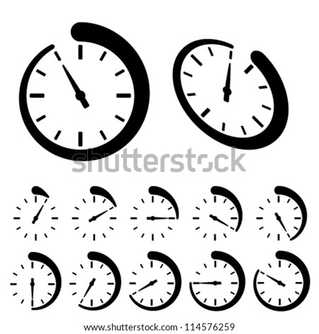 vector round black timer icons - stock vector