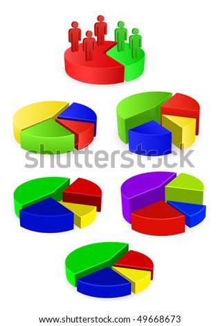 vector round business diagram set - stock vector