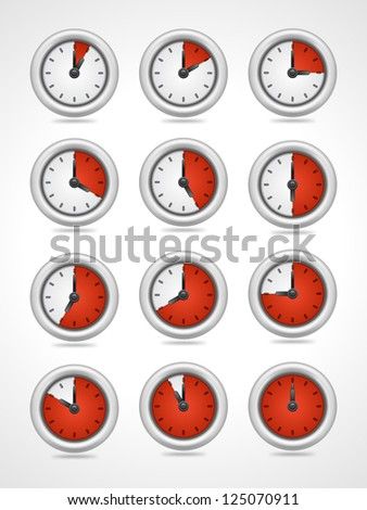 Vector round clock icons set - stock vector