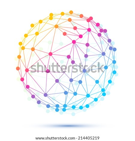 Vector round composition of the molecular lattice abstract geometry - stock vector