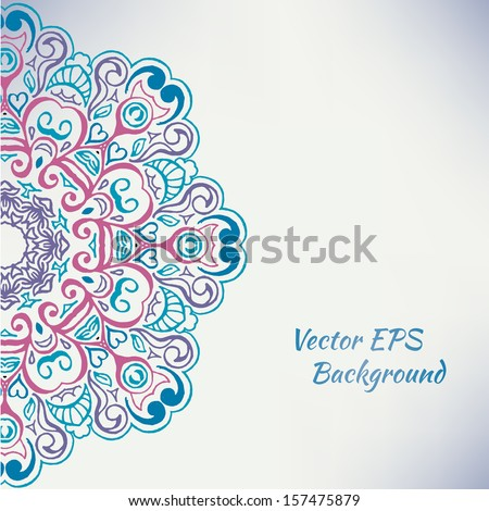 Vector Round Floral Ornament - stock vector