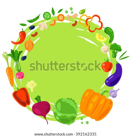 Vector round frame from vegetables. Healthy vegetarian food. Flat. Vegetarian fresh product.  Natural organic food.  - stock vector