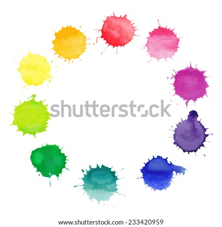 Vector round frame made of watercolor rainbow blobs, colorful paint drops texture.  Vector EPS10. Colorful watercolor splashes isolated on white background - stock vector