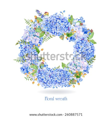 Vector round frame of blue watercolor hydrangea and berries. Illustration wreath of flowers. Can be used as a greeting card for Valentine's day, birthday, mother's day and so on - stock vector