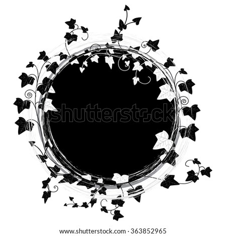 vector round frame with branch of ivy  - stock vector