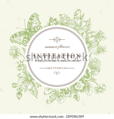 Vector round frame with summer flowers and a butterfly in vintage style. Pansies, daisies, dahlia. - stock vector