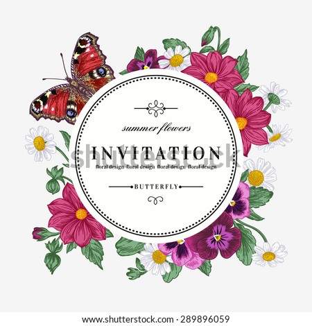 Vector round frame with summer flowers and a butterfly in vintage style. Pansies, daisies, violet, dahlia. - stock vector