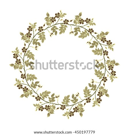 Vector round frame with the briar. Vector delicate eglantine frame. Vintage template card. Save the date vector circular illustration. - stock vector