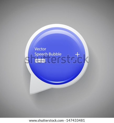 Vector round glossy blue plastic speech bubble - stock vector