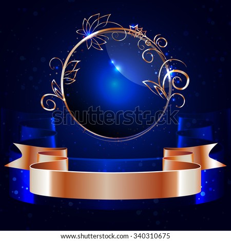 vector ,round glossy label with a gold rim and gold shiny ribbon  ,decorative elements, on a dark blue background - stock vector