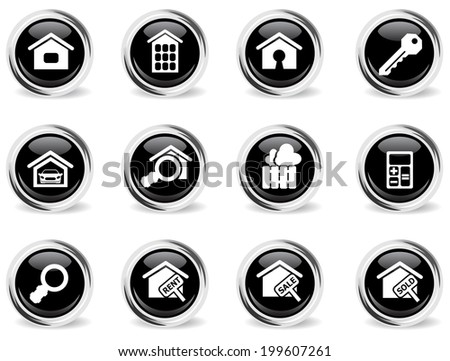 vector round glossy real estate icon set