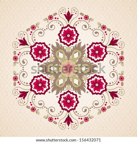 Vector round hexagonal floral pattern in vintage style. Seamless delicate background. - stock vector