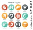 Vector round icons of internal human organs Flat design - stock photo