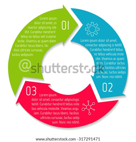 Vector round infographic diagram circular connected stock vector vector round infographic diagram circular connected chart with 3 options paper progress steps for ccuart Image collections