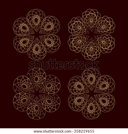 Vector round lace elements set for your design.