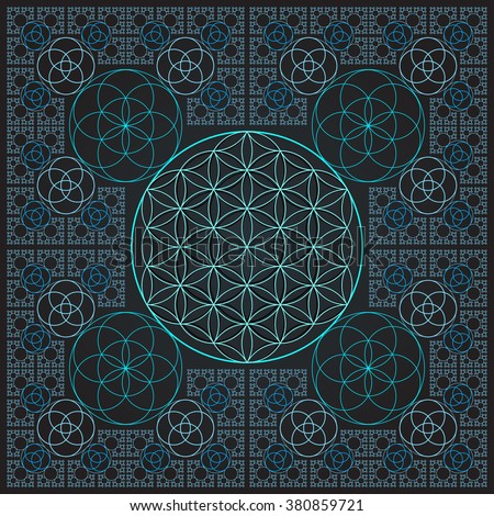 vector round light contour monochrome sacred geometry decoration flower of life seed circle fractal isolated dark background    - stock vector