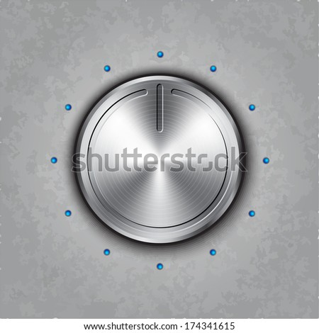 Vector round metal power knob on textured background