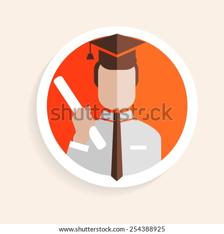 Vector round paper icon successful man researcher with degree, square academic cap flat design style for business, research, teaching school or college, work, market research, search right decisions - stock vector