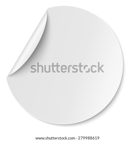 Vector round paper sticker placed on white - stock vector