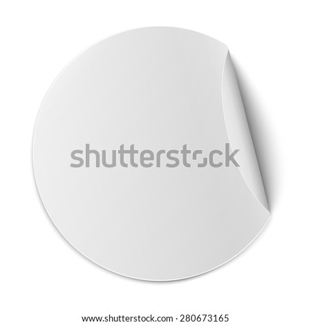 Vector round paper sticker with bent edge isolated on white background - stock vector