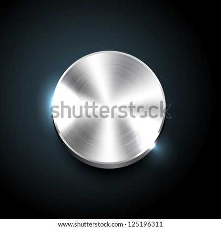 Vector round polished brushed silver steel button - stock vector