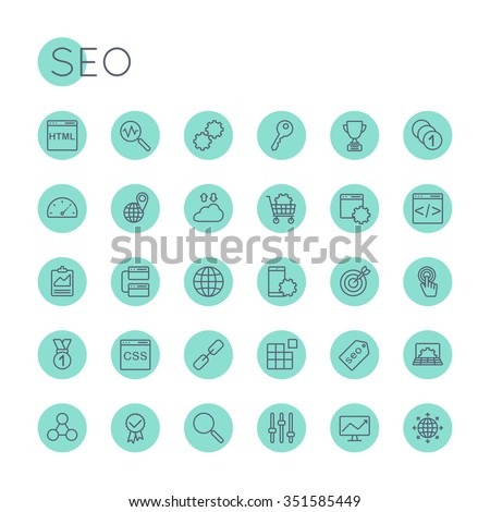Vector Round SEO Icons - stock vector