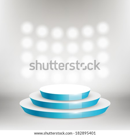 Vector round stage, scene and bright lights background.