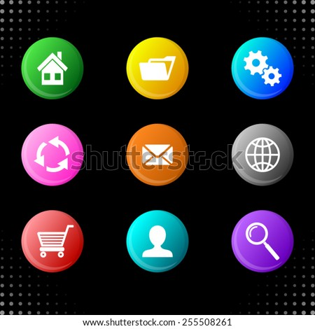 Vector round web colorful buttons with website icons - stock vector