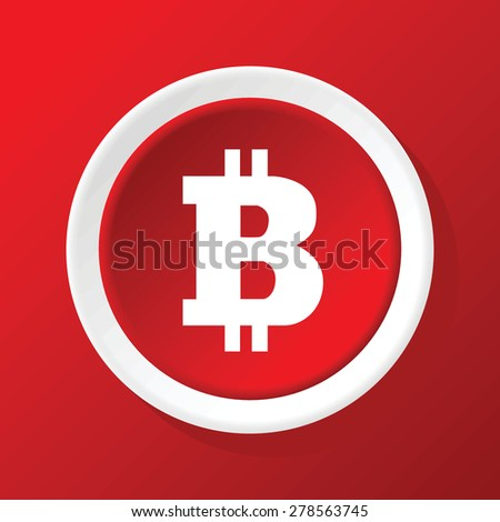 Vector round white icon with bitcoin symbol, on red background - stock vector