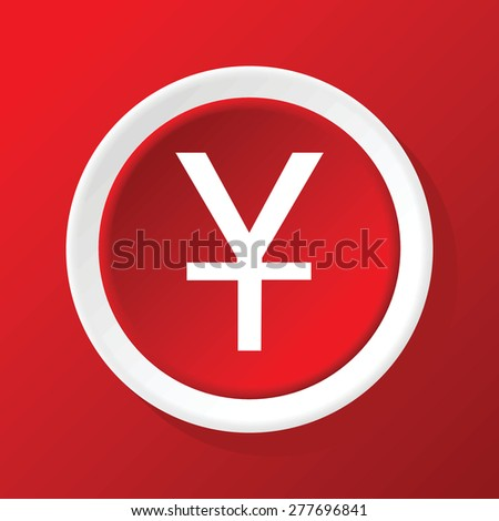 Vector round white icon with yen symbol, on red background - stock vector