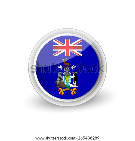 Vector rounded flag button icon of South Georgia and the South Sandwich Islands - stock vector