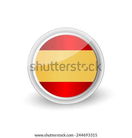 Vector rounded flag button icon of Spain - stock vector
