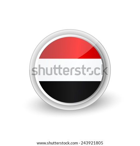 Vector rounded flag button icon of Yemen - stock vector