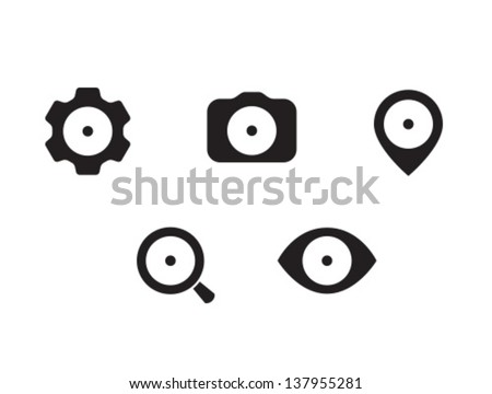 Vector Rounded Icon Set - stock vector