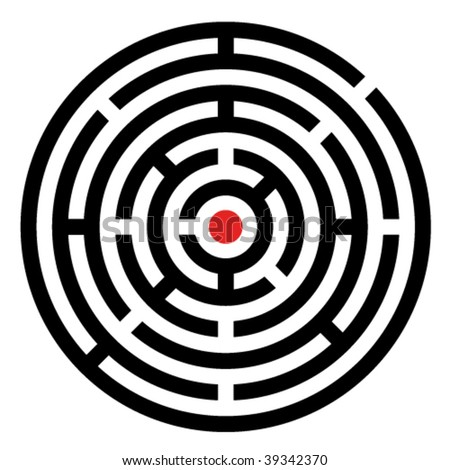 vector rounded maze - stock vector