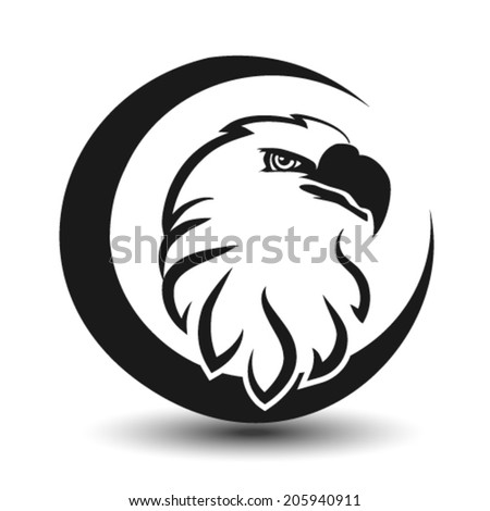Vector rounded symbol of eagle, black sketch head - stock vector