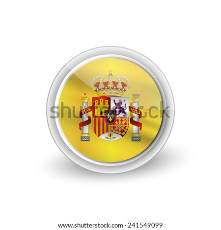 Vector rounded waving button icon of Coat of arms of Spain (state emblem, national emblem) - stock vector