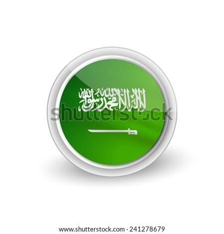 Vector rounded waving flag button icon of Saudi Arabia - stock vector
