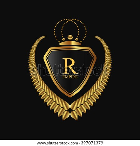 Vector royal shield with golden laurel wreath and crown.