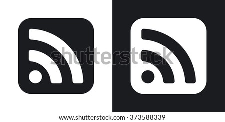 Vector RSS icon. Two-tone version on black and white background - stock vector
