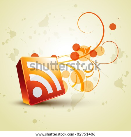 vector rss icon with floral emerging out - stock vector