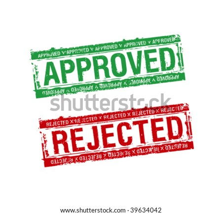 vector rubber stamps approved and rejected - stock vector