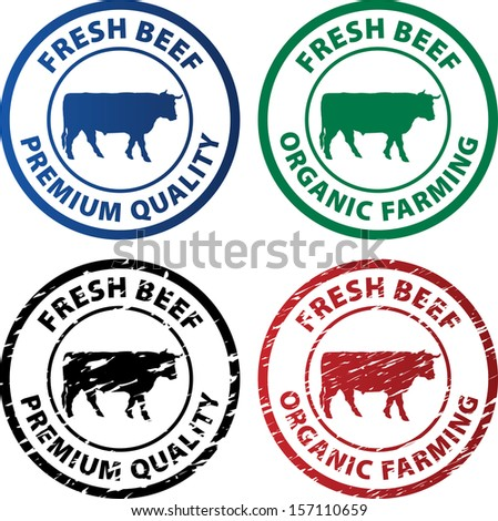 vector rubber stamps for fresh beef - stock vector