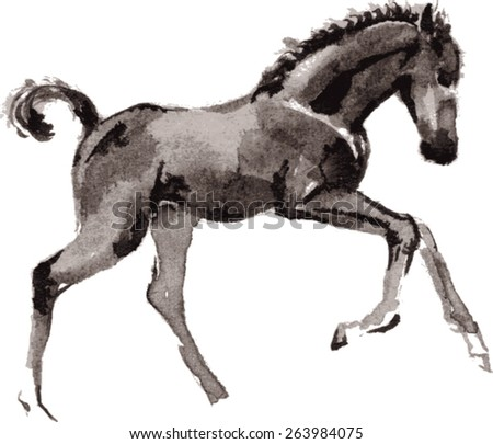 Vector running foal oriental ink painting.  - stock vector