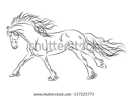 Vector running friesian horse sketch - stock vector