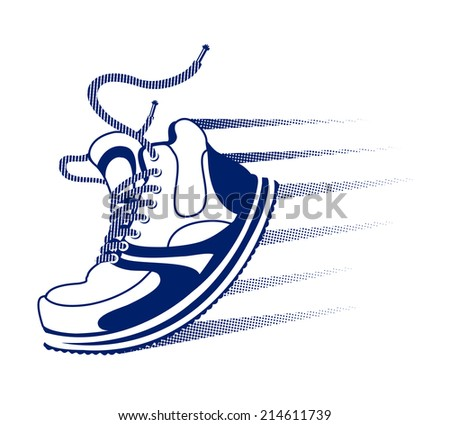 Vector running icon with a blue lace up sneaker  trainer or running shoe with speed trails and motion lines in mid step or stride on white - stock vector