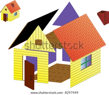 Vector rural house in non-assembled and assembled views - stock vector