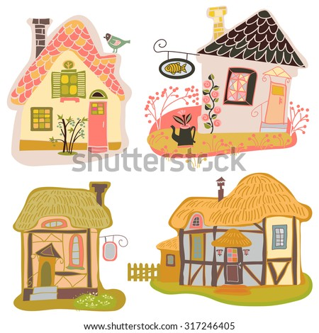 vector rural houses - stock vector